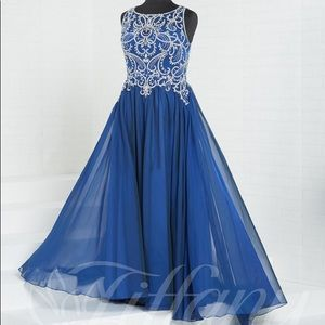 Size 22W Beaded Blue Flowy Gown With Corset